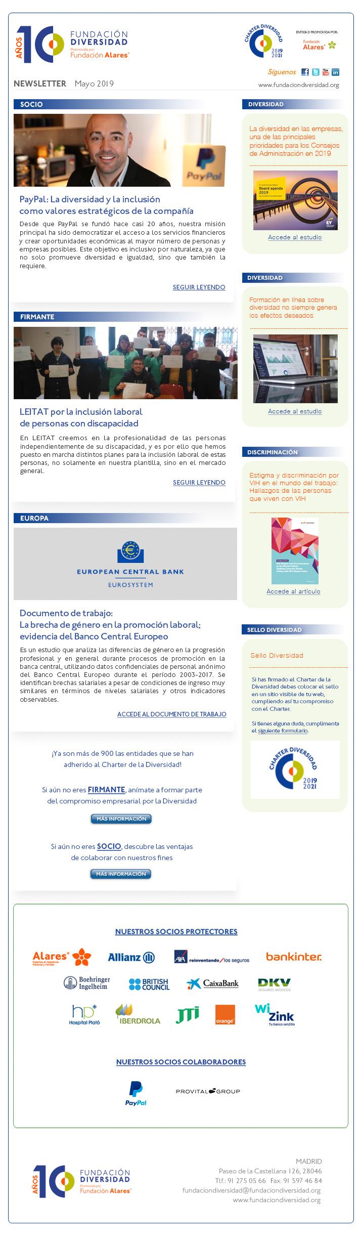 Newsletter Fundación Diversidad mayo 2019